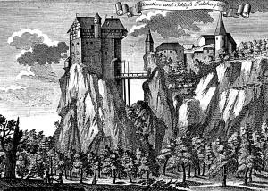 historische Radierung der Burg Falkenstein